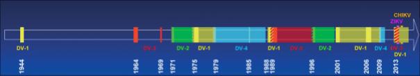 Circulation de la dengue et autres arbovirus en Polynésie française, 1944-2018. DV-1 à -4 : virus de la dengue de sérotypes 1 à 4 ; ZIKV: virus du Zika; CHIKV: virus du chikungunya. Les couleurs pleines représentent les périodes épidémiques et les couleurs transparentes représentent les périodes de circulation endémique.